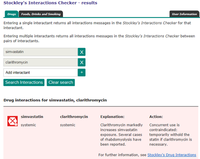 Stockley's Interactions Checker